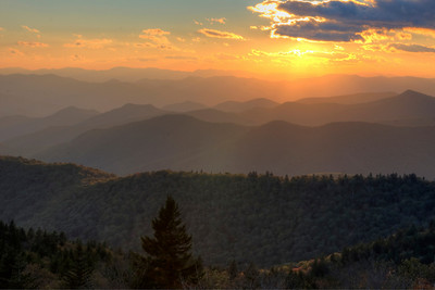 Sun setting at the Cowee Overlook in Haywood County